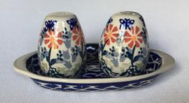 Peper en zout stel 3-delig blauw met rode bloemen