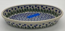 Ovalen ovenschaal blauw bloem
