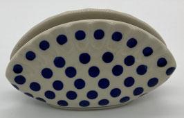 Servethouder schelp blauwe stip