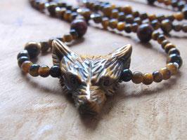 MUTIGER WOLF - Kette mit Tigerauge Wolf und Tigerauge Kugeln