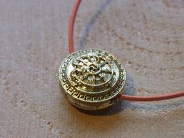 Kette mit Dharma-Rad & Fische Symbol Anhänger, Lederband