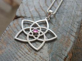 VENUSBLUME Kette mit Venusblume und rosa Turmalin Anhänger, Silber - Goldschmiedearbeit