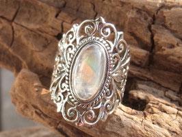 MAJESTIC Ring mit Regenbogen-Mondstein, Silber - UNIKAT