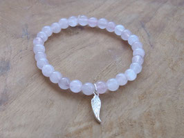 ANGEL GUARDIAN Armband mit Rosenquarz Perlen und Silberflügel Anhänger