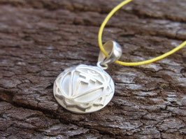SOLARPLEXUS CHAKRA Nyonbandkette mit handgeschmiedetem Solarplexus Chakra Symbol Anhänger - Silber