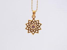 DIVINE LOTUS Kette mit goldener Lotusblume und Amethyst