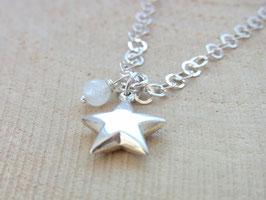 STAR & MOON Kette mit Stern und Mondstein Anhänger, Edelstein, Silber