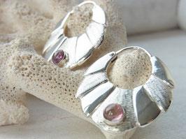 Ohrringe PINK TOURMALINE Creolen mit rosa/pink Turmalinen (large) Silber 925 - Goldschmiedearbeit