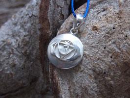 Kette Stirnchakra Symbol, Silber, blaues Nylonband, Goldschmiedearbeit