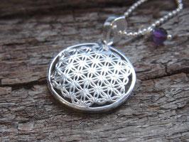 BLUME DES LEBENS Kette mit Symbolanhänger (23 mm) und Amethyst Perle, filigran, Silber