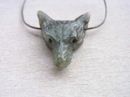 WOLF VISION Kette mit grünem Labradorit Wolfskopf - Lederband