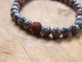NATURE Armband aus braunen Achat und Rudraksha Samen