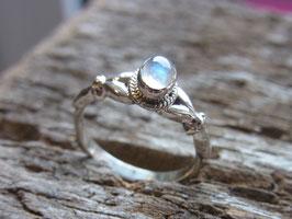RAINBOW Ring mit Regenbogen-Mondstein filigran - Silber