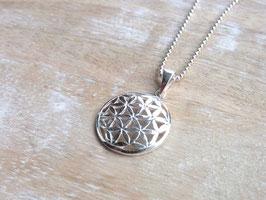 BLUME DES LEBENS Kette mit kleinem Blume des Lebens Anhänger (17 mm) - Silber