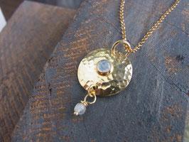 SUN & MOON - Kette mit Regenbogen Mondstein - vergoldetes Silber