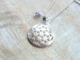 BLUME DES LEBENS Kette mit kleiner Blume des Lebens (17 mm) und Amethyst Perle - Silber