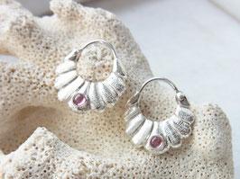 Ohrringe PINK TOURMALINE Creolen rosa pink Turmalin Silber  - Handarbeit
