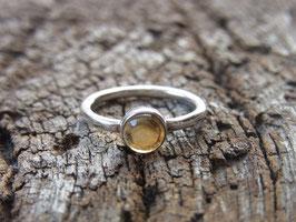 LIGHTBRINGER Ring mit Citrin Cabochon, Silber - handgeschmiedet