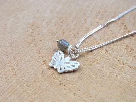 LITTLE BUTTERFLY Kette mit Schmetterling Anhänger und Labradorit Perle - 925 Silber
