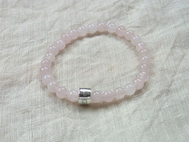 I AM LOVE - Armband mit MINDSHIFT LOVE Silverbead und Rosenquarz, Silber - Handmade