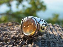 FLAME CITRIN Ring Silber Flammensymbole UNIKAT