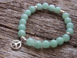 PEACE Armband mit blau-grünem Amazonit und Peace Zeichen