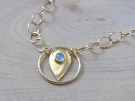GOLDEN FLAME - Kette mit Mondstein, Symbol, Silber-vergoldet