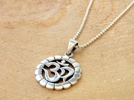 OM Kette mit OM Symbol Anhänger Silber