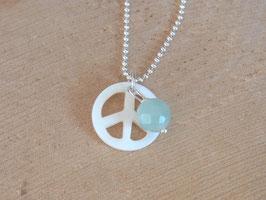 PEACE Kette mit PEACE Zeichen aus Perlmutt und Amazonit Kugel