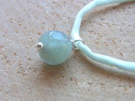 Seidenarmband VISHUDDHA mit Aquamarin, hellblaue Seide, Silber