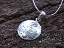 Kette Kronenchakra Symbol - OM und Lotus Anhänger, hellflieder Nylonband