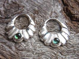 Ohrringe GREEN TOURMALINE Creolen grüner Turmalin, Silber - Handarbeit - Unikat