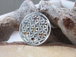NEU! BLUME DES LEBENS Kette mit Blume des Lebens Anhänger Silber mit 7 Edelsteinen - Goldschmiedearbeit