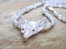WOLF LOVE - Kette mit Wolfskopf und Rosenquarz Perlen