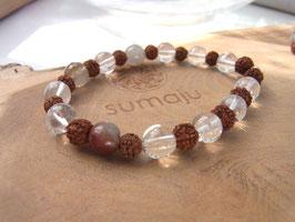 SACRED SEEDS Armband mit Bergkristall, Rudraksha Samen und Rutilquarz