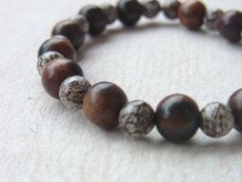 BE WITH NATURE  Armband aus braunen Achatkugeln