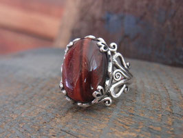 TIGER EYE Ring mit rotem Tigerauge Cabochon