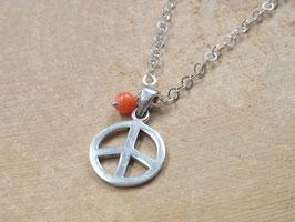 CORAL PEACE Kette mit Peace Anhänger und Korallen Perle