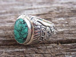 DRAGON TÜRKIS - Ring mit Drachengravur und Türkis, Silber, UNIKAT