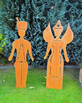 Engel und Bergmann Figuren in Edelrost in versch. Größen