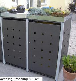 2er Mülltonnenbox 240L mit Pflanzdach