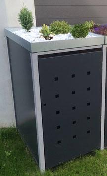 1er Mülltonnenbox 120L mit Pflanzdach