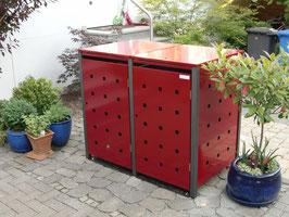 Stanzung in beiden Seitenteilen der Mülltonnenbox