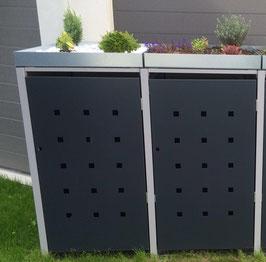 2er Mülltonnenbox 120L mit Pflanzdach