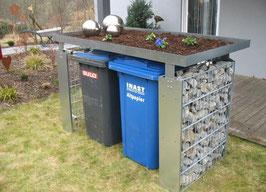 2er Mülltonnenbox aus Gabionenzaun + Pflanzwanne