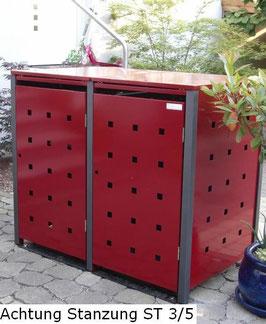 2er Mülltonnenbox 240L XL mit Klappdach