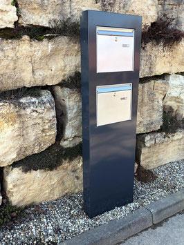 Doppel Briefkasten Stele aus Metall