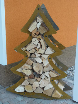 Kaminholzregal Weihnachtsbaum / Tannenbaum Edelrost