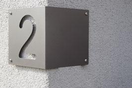 Eck Hausnummer 20 cm EINSTELLIG aus Edelstahl