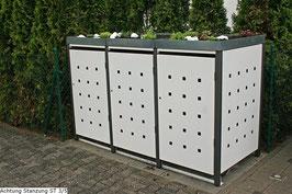3er Mülltonnenbox 240L XL mit Pflanzdach